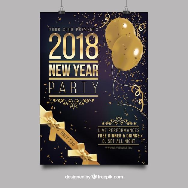 Party nowy rok plakatu Darmowych Wektorów
