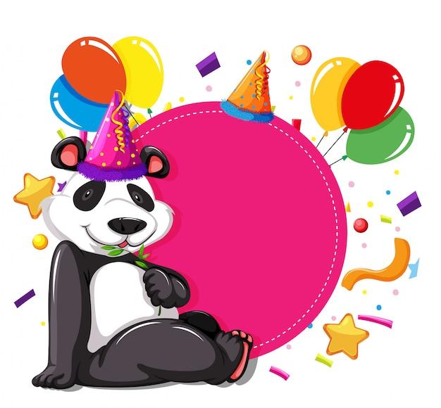 Party Panda Na Różowej Karcie Darmowych Wektorów