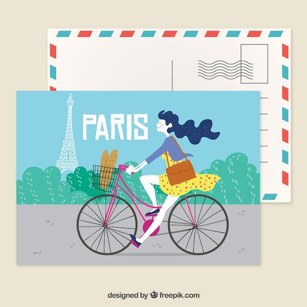 Paryż pocztówka szablon z ręcznie rysowane stylu Darmowych Wektorów