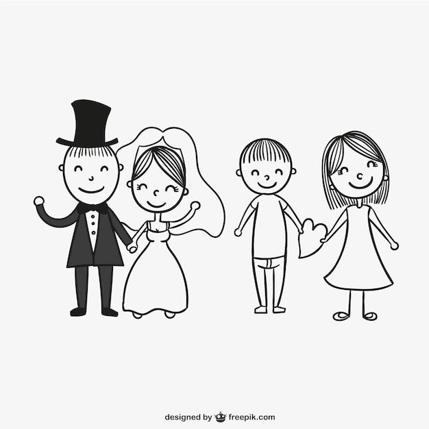 Pary ślubne Rysunek Wektor Darmowe Pobieranie
