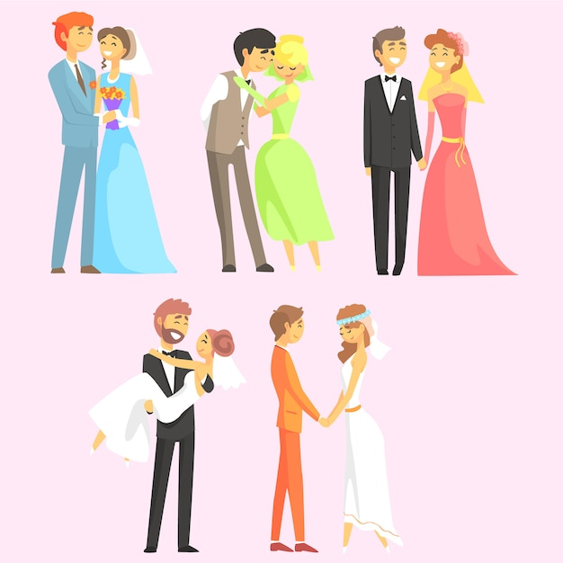 Pary Biorące ślub Premium Wektorów