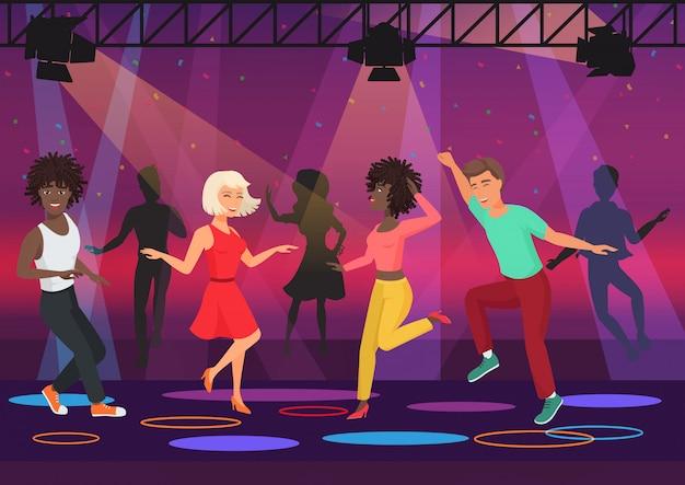Pary młodych ludzi wielu etycznych tańczących w kolorowych światłach w dyskotece klub nocny. ilustracja kreskówka wektor Premium Wektorów