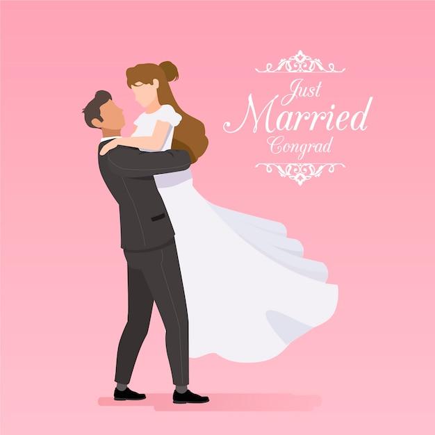 Pary ślubne w płaskiej konstrukcji Darmowych Wektorów