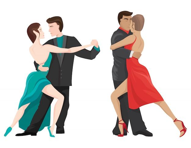 Pary Taneczne Tango. Męskie I żeńskie Postacie W Stylu Cartoon. Premium Wektorów
