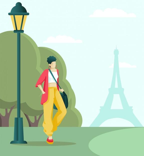 Paryski lub turystyczny spacer po parku w pobliżu wieży eiffla Premium Wektorów