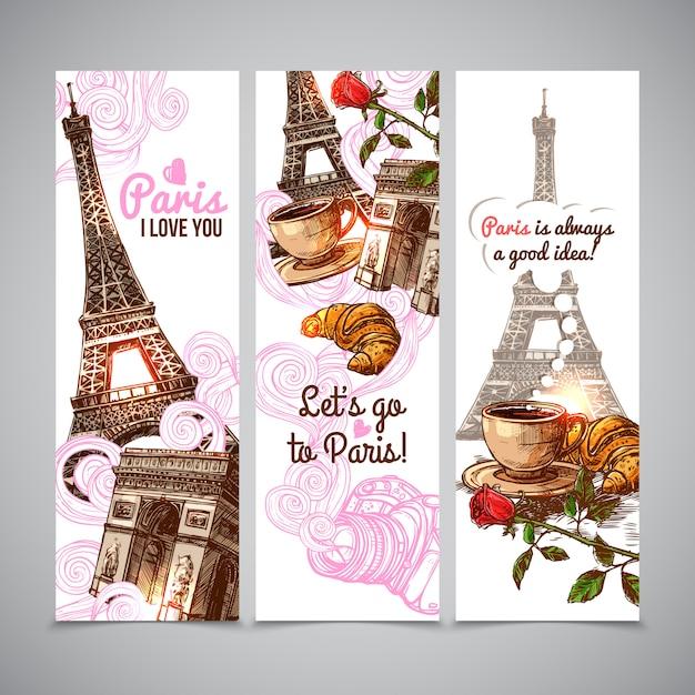 Paryskie pionowe banery Darmowych Wektorów