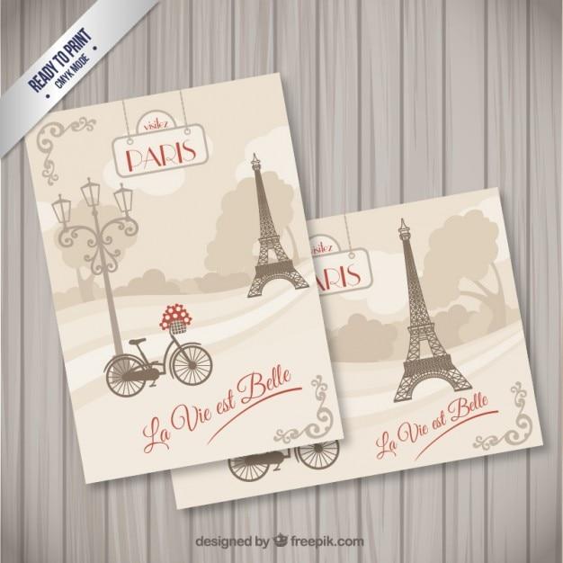 Paryż Pocztówki W Stylu Retro Wektor Premium Pobieranie