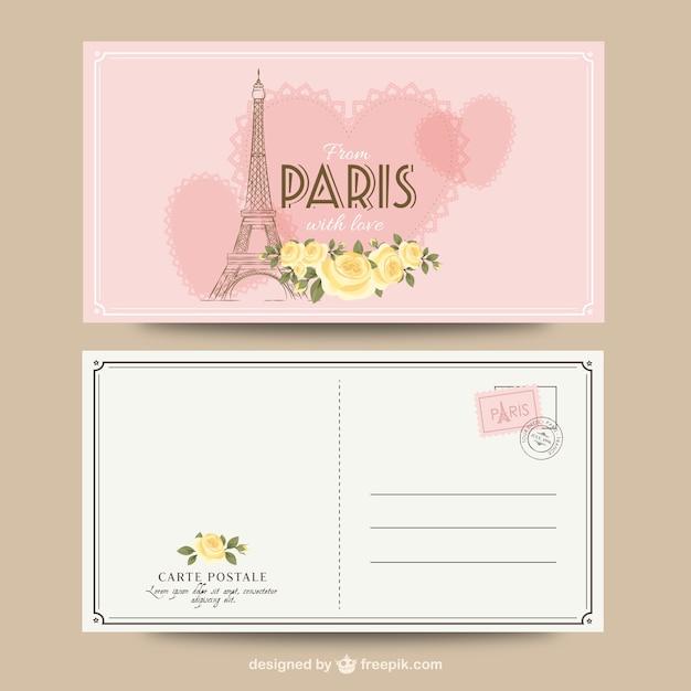 Paryż romantyczny pocztówka Darmowych Wektorów