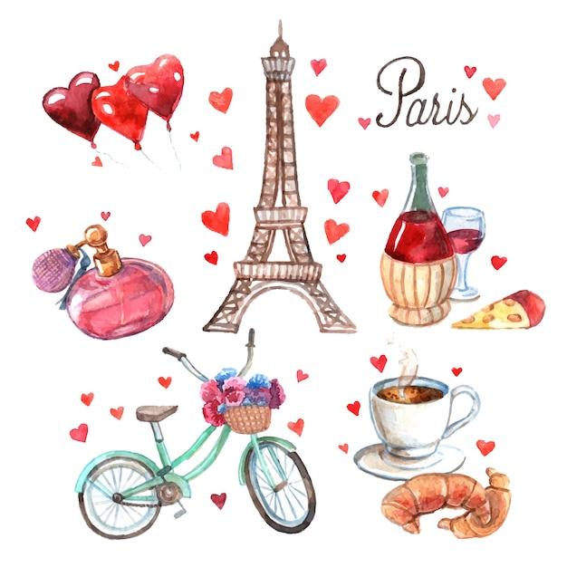 Paryż symbole akwarela kompozycja ikon Darmowych Wektorów
