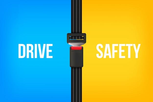 Pas bezpieczeństwa, otwarte i zamknięte pasy bezpieczeństwa. Premium Wektorów