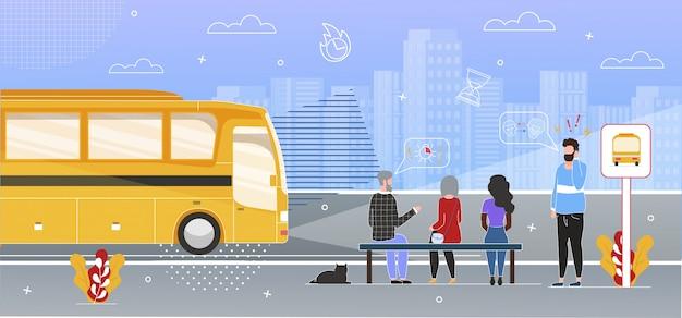 Pasażerowie czekający na autobus na przystanku flat Premium Wektorów