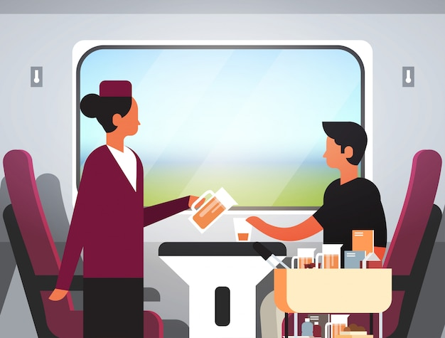 Pasażerowie podróżujący nowoczesnym pociągiem ekspresowym Premium Wektorów