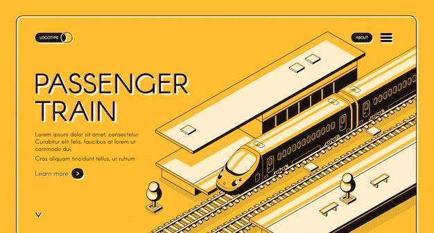 Pasażerski izometryczny baner internetowy. szybki pociąg ekspresowy na stacji kolejowej Darmowych Wektorów