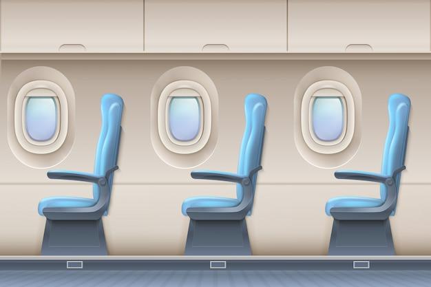 Pasażerski samolotowy wektorowy wnętrze. samolot kryty z wygodnymi krzesłami i iluminatorami Premium Wektorów