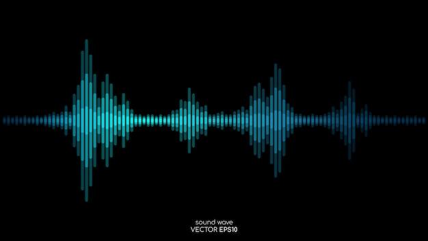 Paski fali dźwiękowej w niebiesko-zielonych kolorach dynamiczny płynący na czarnym tle w koncepcji muzyki, dźwięku. Premium Wektorów