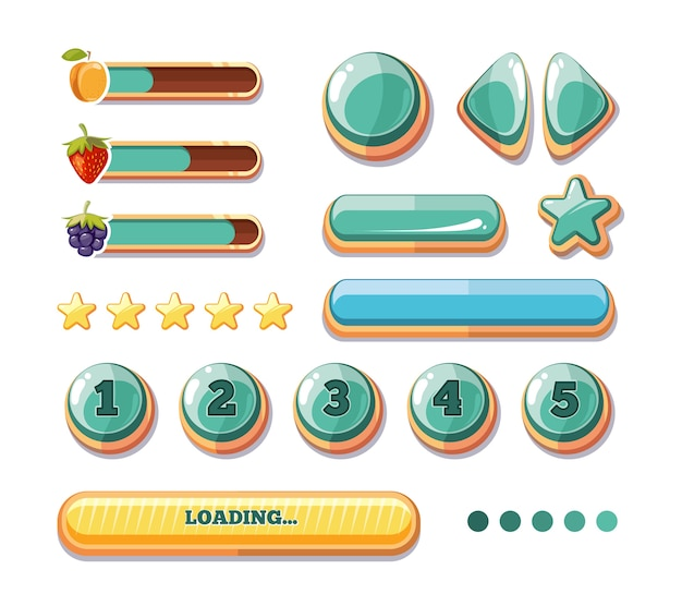Paski postępu, przyciski, dopalacze, ikony interfejsu użytkownika gier komputerowych. kreskówka gui do zabawy. vec Premium Wektorów