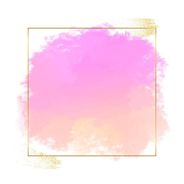 Pastelowa Akwarela Ze Złotą Ramą Darmowych Wektorów