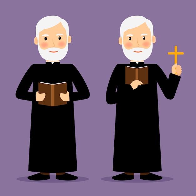 Pastor Charakter Z Krzyżem I Biblią Odizolowywającymi. Ilustracji Wektorowych Premium Wektorów