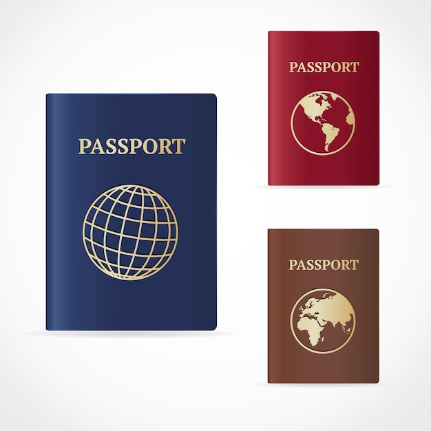 Paszport Z Mapą I Ikoną świata. Premium Wektorów