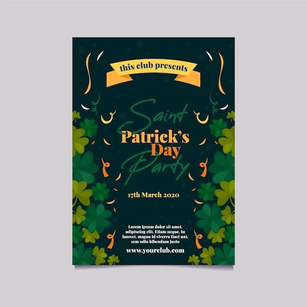 Patrick's Party Plakat Lub Szablon Ulotki Ze Wstążką I Koniczyny Darmowych Wektorów