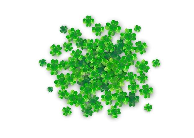 Patricks Day Tło W Kształcie Okrągłego Koła Z Zielonymi Koniczynami Darmowych Wektorów