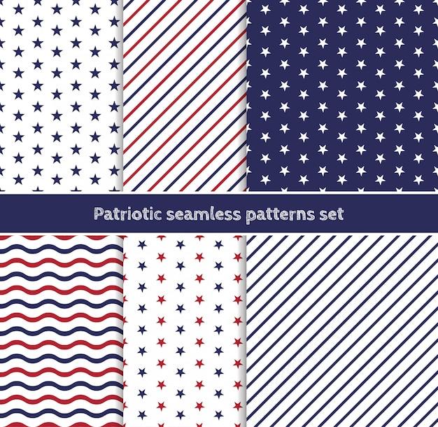 Patriotyczne Amerykańskie Wzory Bez Szwu W Paski I Gwiazdki W Tradycyjnych Kolorach Czerwonym, Niebieskim I Białym. Premium Wektorów