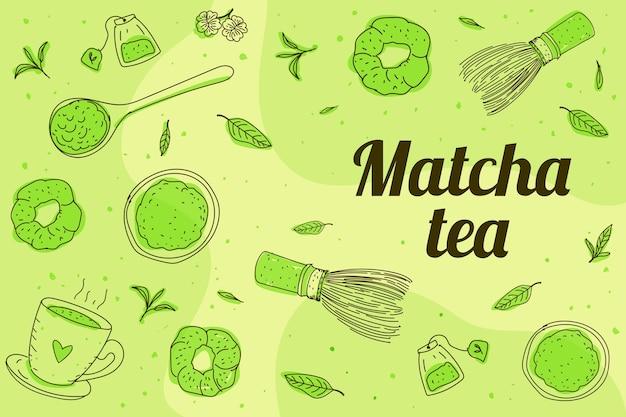 Patroszone Tło Herbaty Matcha Darmowych Wektorów