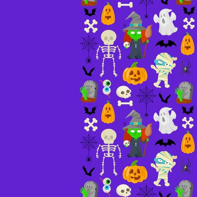 Patttern na halloween Premium Wektorów