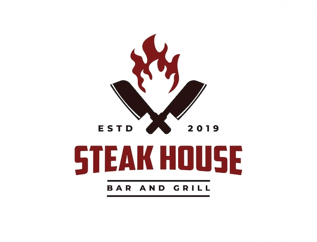 Pbutcher nóż i ogień logo vintage retro cafe bar steak house Premium Wektorów