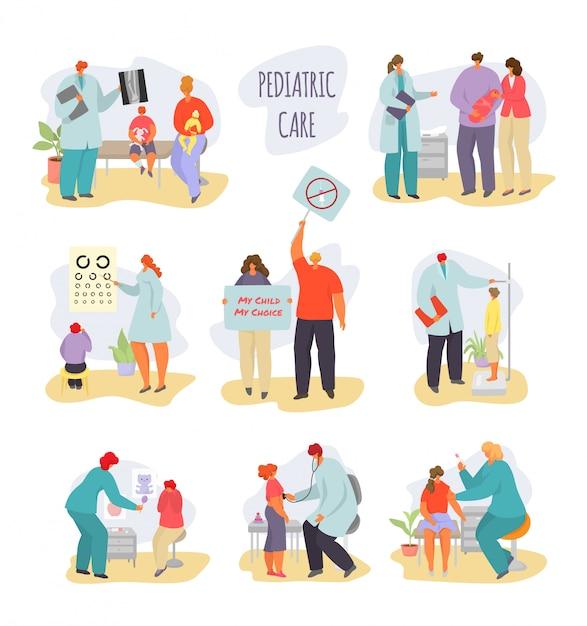 Pediatra Dziecka Lekarki Ilustracja, Kreskówki Matka Z Chorym Dzieciakiem, Dziecko Charaktery Na Badaniu Medycznym Odizolowywającym Na Bielu Premium Wektorów