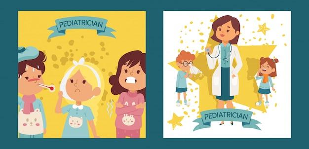 Pediatra kobiety lekarka z chorymi dziećmi ustawiającymi plakaty, karta wektoru ilustracja. lekarz ortorynolaringolog lub lekarz z wyposażeniem. stetoskop gospodarstwa kobiety Premium Wektorów