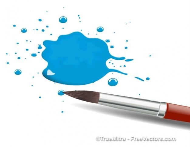 Pędzel z niebieskim plusk Darmowych Wektorów