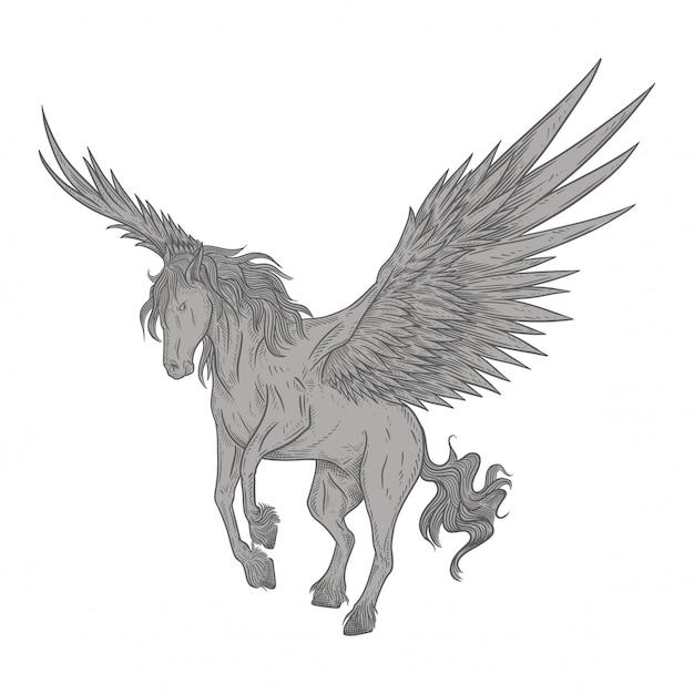 Pegasus W Stylu Vintage Premium Wektorów