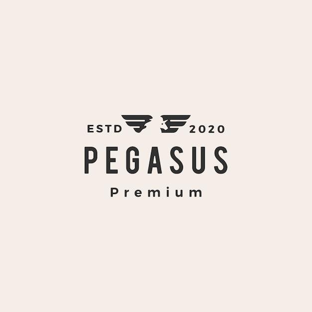 Pegaza Jednorożca Skrzydła Modnisia Rocznika Loga Ikony Ilustracja Premium Wektorów