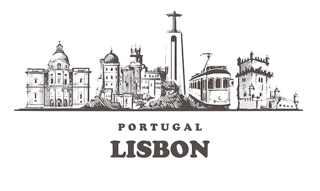 Pejzaż Lizbona, Portugalia Premium Wektorów