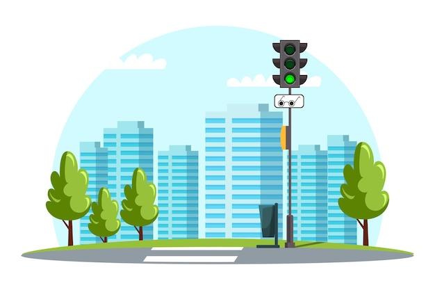 Pejzaż Miejski, Infrastruktura Miejska, Przejście Dla Pieszych, Znak Dla Niewidomych Pieszych, Sygnalizacja świetlna Zielona Premium Wektorów