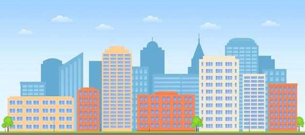 Pejzaż Miejski, Panoramę Ulicy, Tło Miasta Budynki, Premium Wektorów