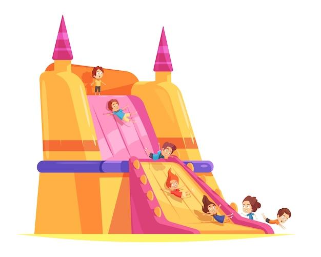 Pełen Wigoru Zamek Z Bawiącymi Się Dziećmi Darmowych Wektorów