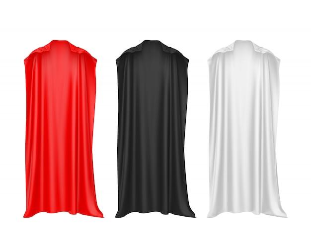 Peleryna Superbohatera Czerwony, Czarny, Biały Na Białym Tle. Premium Wektorów