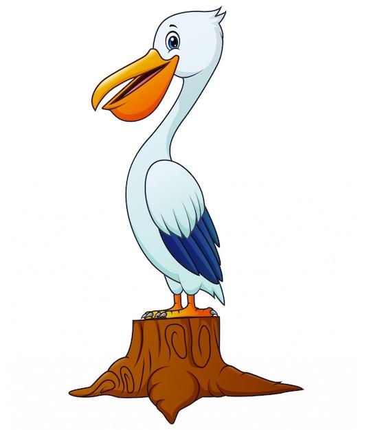 Pelikan Kreskówka Ptak Stojący Na Pniu Drzewa Premium Wektorów