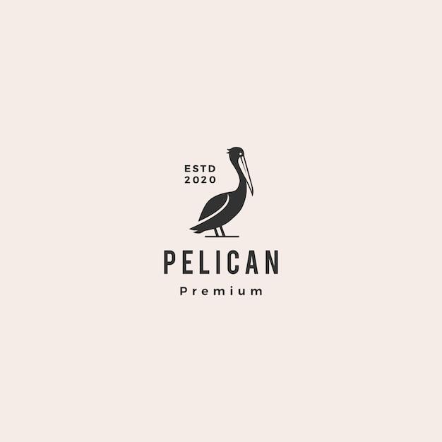 Pelikan Zatoki Ptaka Wybrzeża Plaży Loga Ikony Modnisia Ilustracyjny Rocznik Retro Premium Wektorów