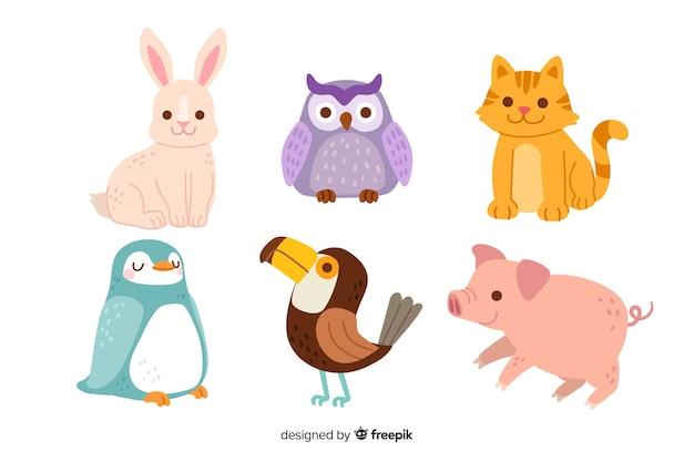 Pełna kolekcja kreskówka zwierząt Darmowych Wektorów