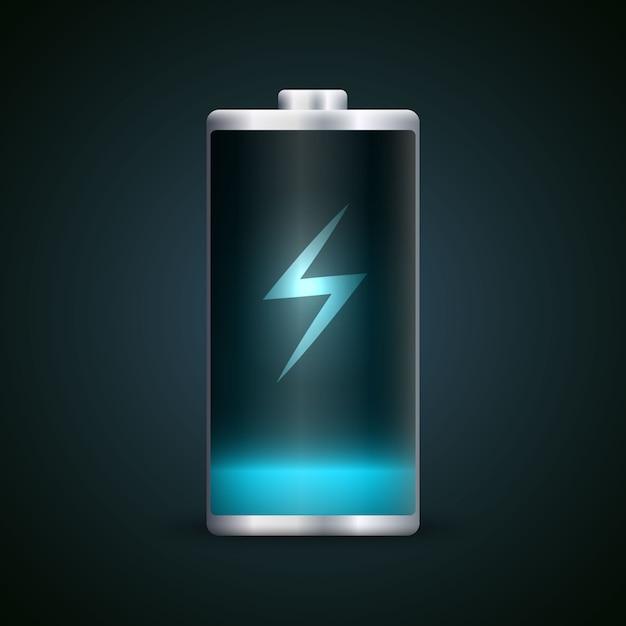 Pełne naładowanie akumulatora. Premium Wektorów
