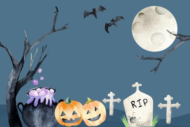Pełnia Księżyca Halloween Akwarela Tło Darmowych Wektorów