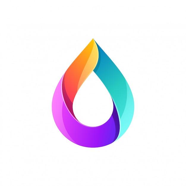 Pełny kolor logo z kroplą wody Premium Wektorów