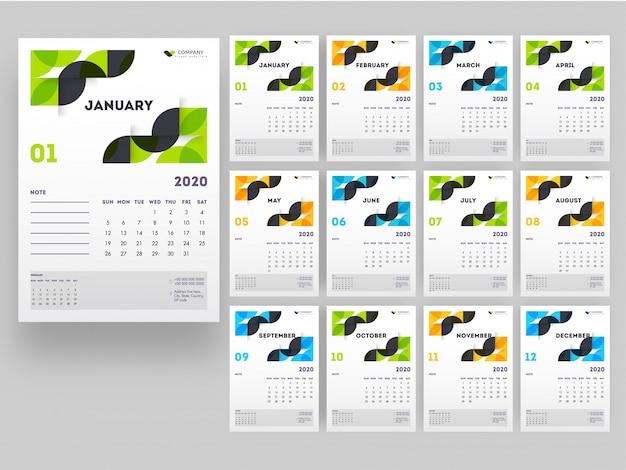 Pełny zestaw 12 miesięcy na 2020 rok kalendarzowy z elementami abstrakcyjnymi. Premium Wektorów