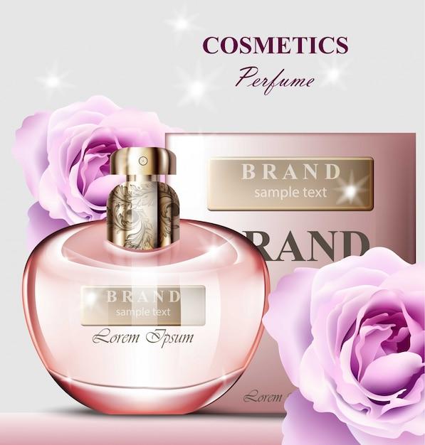 Perfumy Damskie O Zapachu Róży. Realistyczne Projekty Opakowań Produktów Wektorowych Makiety Premium Wektorów