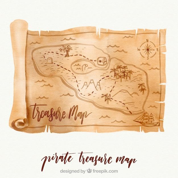 Pergamin akwarela z mapą skarbów Darmowych Wektorów