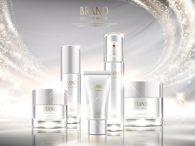 Perłowe Białe Reklamy Pielęgnacji Skóry, Zestaw Kosmetyków Z Błyszczącym Efektem świetlnym Na Ilustracji Premium Wektorów
