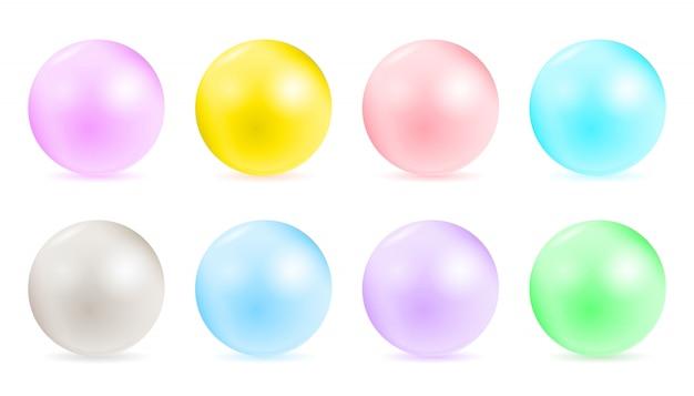 Perłowe glamour koraliki, wzory naszyjników. Premium Wektorów